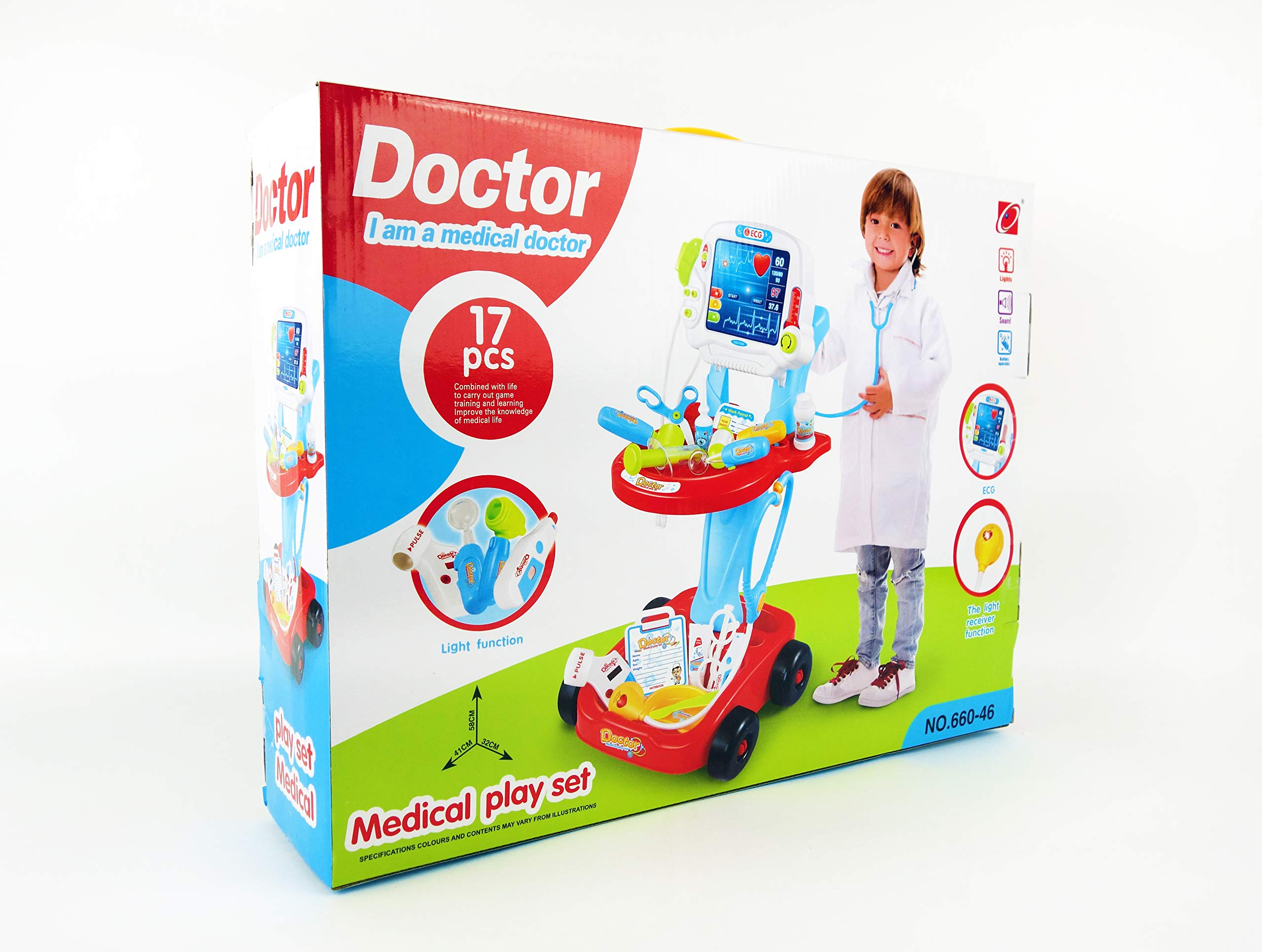 NBD Corp Kids Toy Portable Doctor Set, 17 Piece Set with Play Screen and Play Doctor Instruments