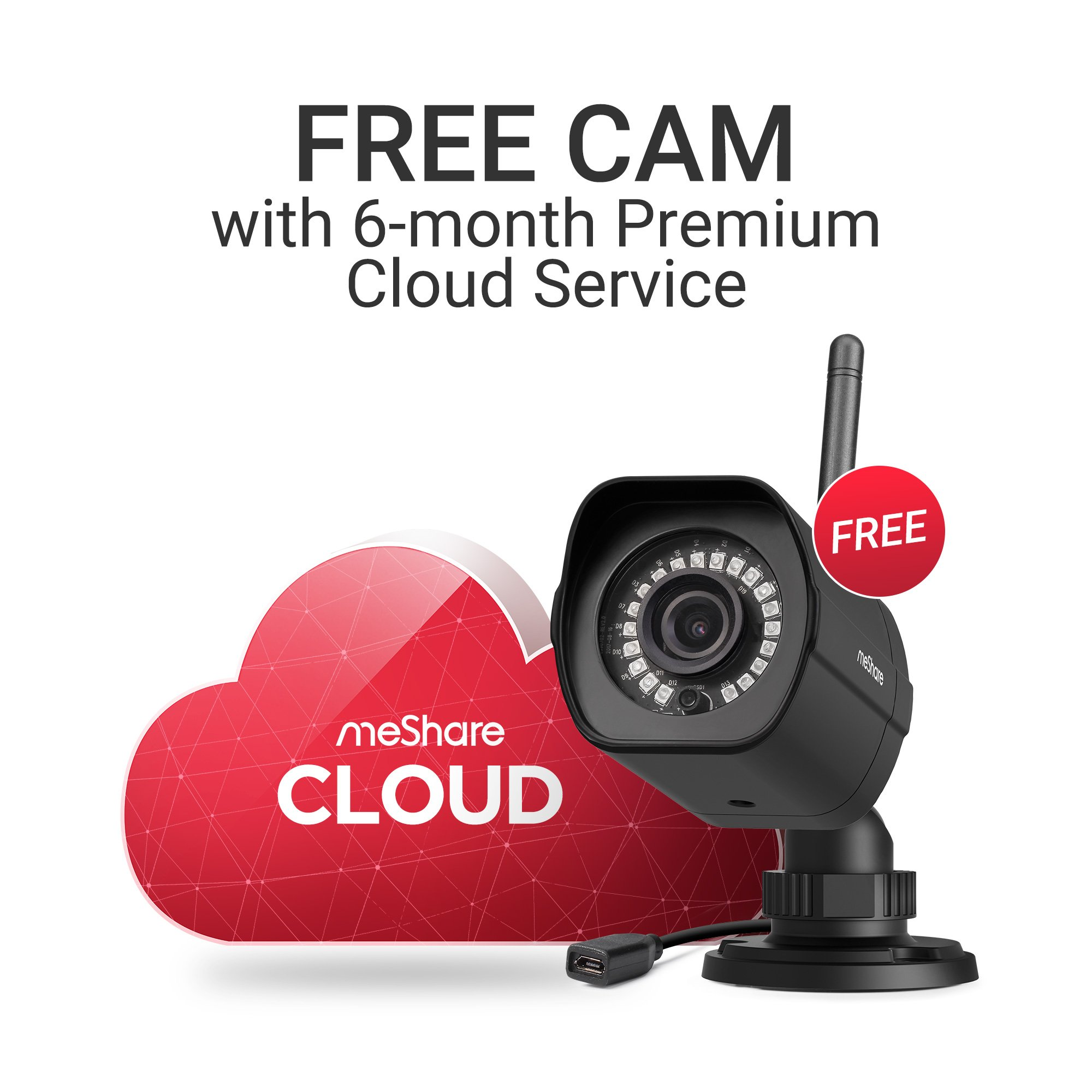 meShare 6 Month Premium Cloud Recording - Get Free Bounded 1080p HD Outdoor Wireless Security Camera