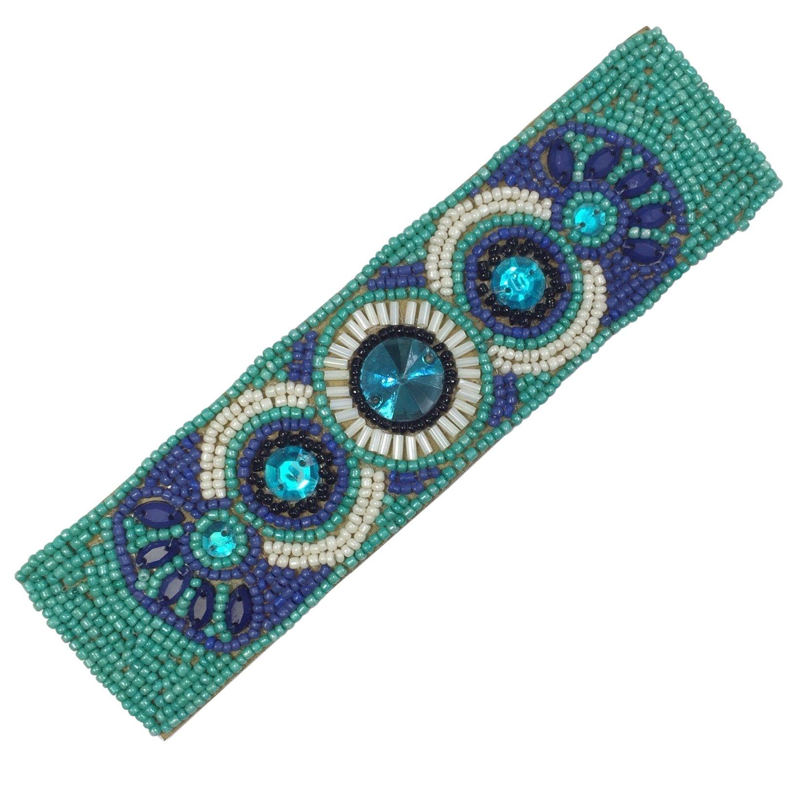 Gypsy Jewels Bohemian Beaded Multi Color Statement Wired Adjustable Cuff Bracelet (Royal & Aqua Blue)