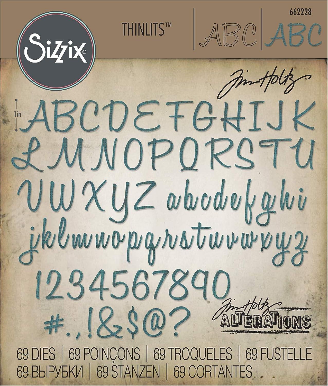 alfabeto /& cifras cursiva by Tim Ho Sizzix thinlits estampadoras set 108tlg