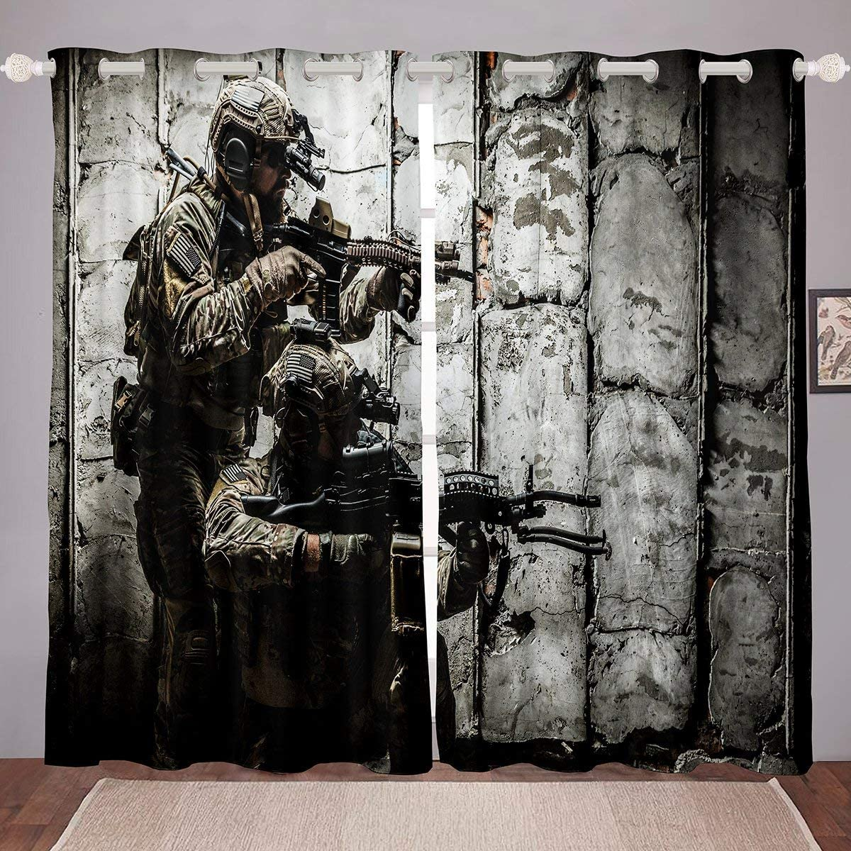 Soldier With Weapon Curtain Panels, Boys Teens Under Mission Window Drapes, Army Rifle Machine Gun Window Treatments, Military Themed Window Curtains 104W84L Camouflage Bedroom Decor For Youth Man