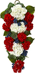 Nearly Natural 26 In. Geranium and Blue Berry Artificial Teardrop Wreaths Multi