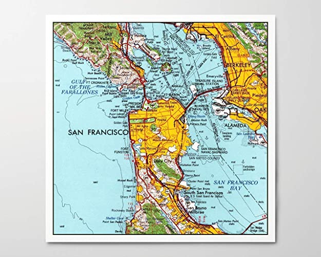 image relating to San Francisco Maps Printable identify : 1960s San Francisco Map, Archival Artwork Print
