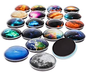 Paper Junkie 20-Pack 1 Inch Planetary Magnets of Cosmos and Planets for Fridge, Whiteboard, 20 Designs
