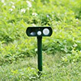 Pest Repeller, Outdoor Solar Powered and Weatherproof Ultrasonic Dog/Cat/Mosquito Repellent