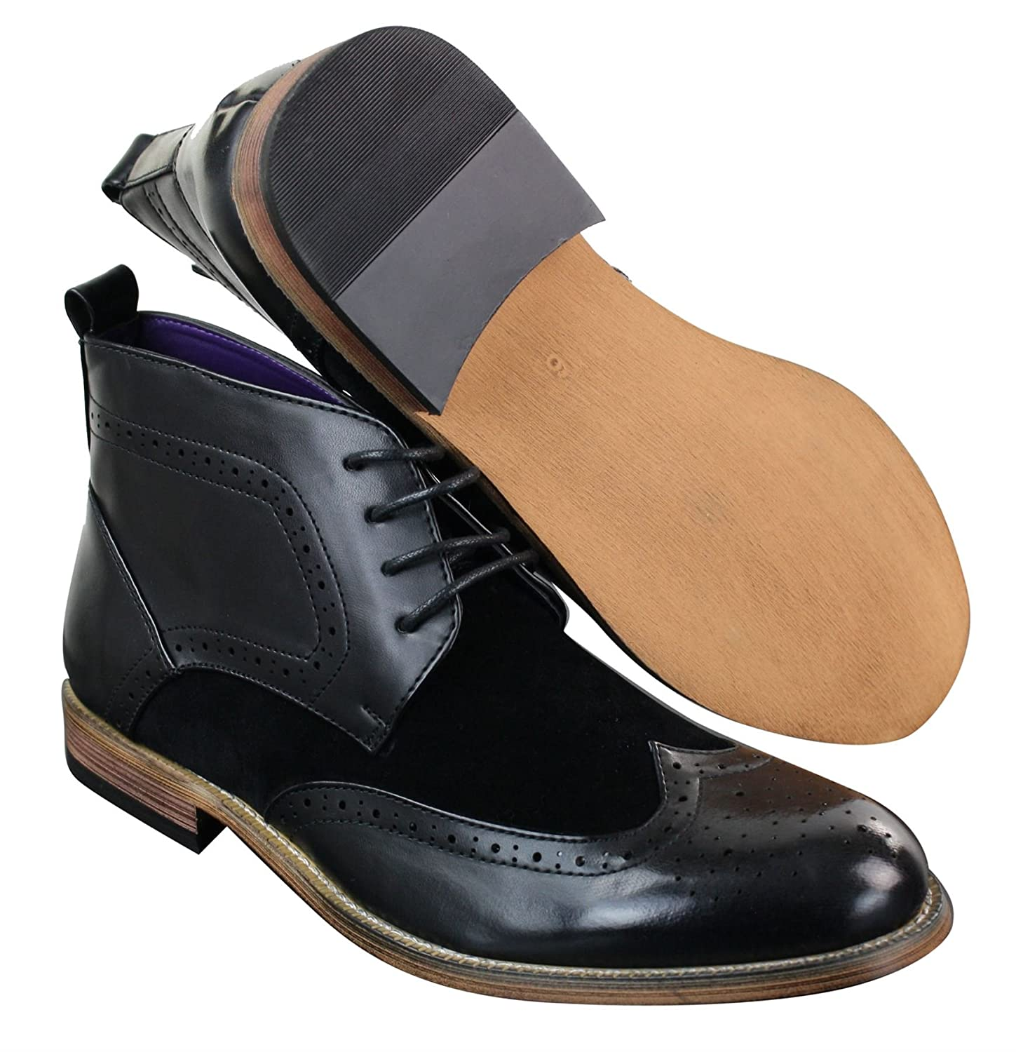 8a012e149a4ee Mens Black Leather Suede PU Brogues Smart Casual Boots Ankle Shoes Lace   Amazon.co.uk  Shoes   Bags