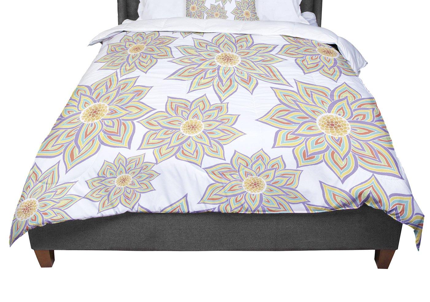 KESS InHouse Pom Graphic Design ''Floral Dance'' King / Cal King Comforter, 104'' X 88''