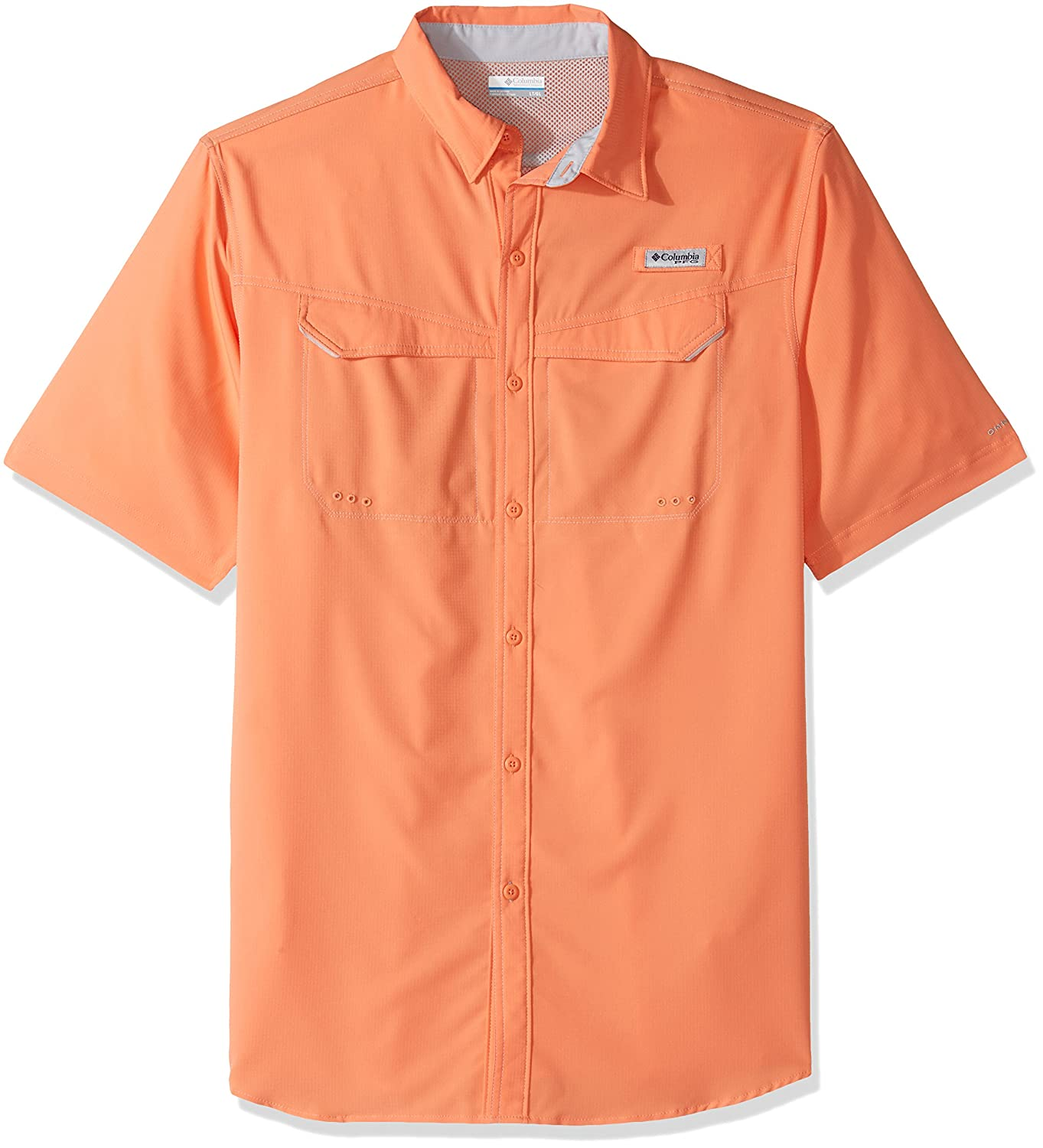 Columbia Men's Niedrig Drag Offshore Short Sleeve Shirt, Bright Peach, Large Tall