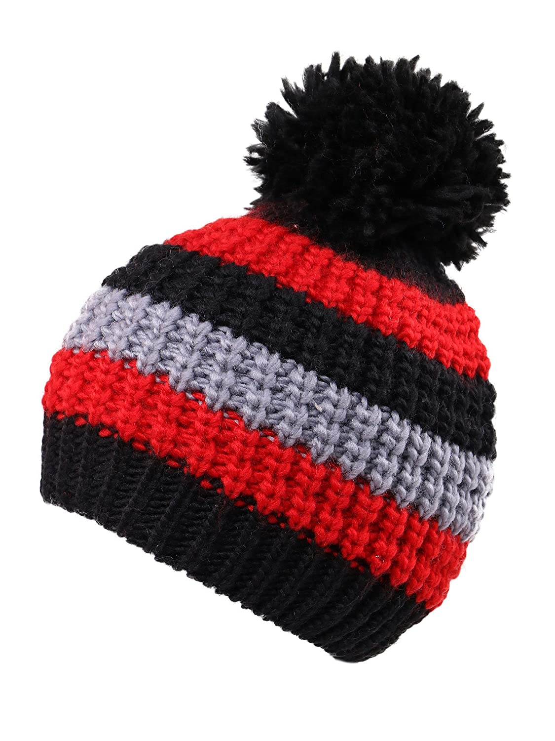 ARCTIC Paw Boys/Girls Kids Knit Beanie w/Pompom Toddlers Children Winter Hat Cap Black Striped