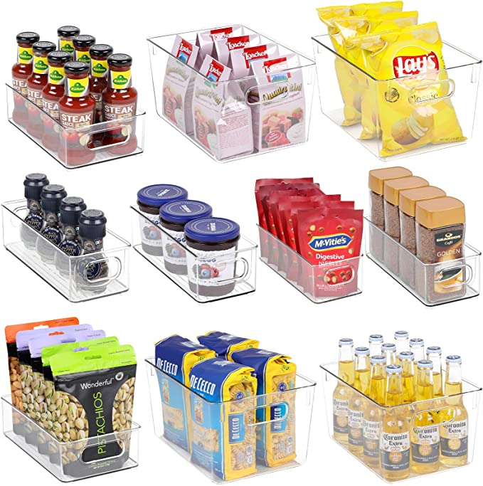 Clear Fridge Organizer Bins Set - 10 Piece Plastic Organizer Fridge Bins with Handle for Freezer, Refrigerator Organizers and Storage Bins, Clear Freezer Storage Bins, Fridge Organization Bins