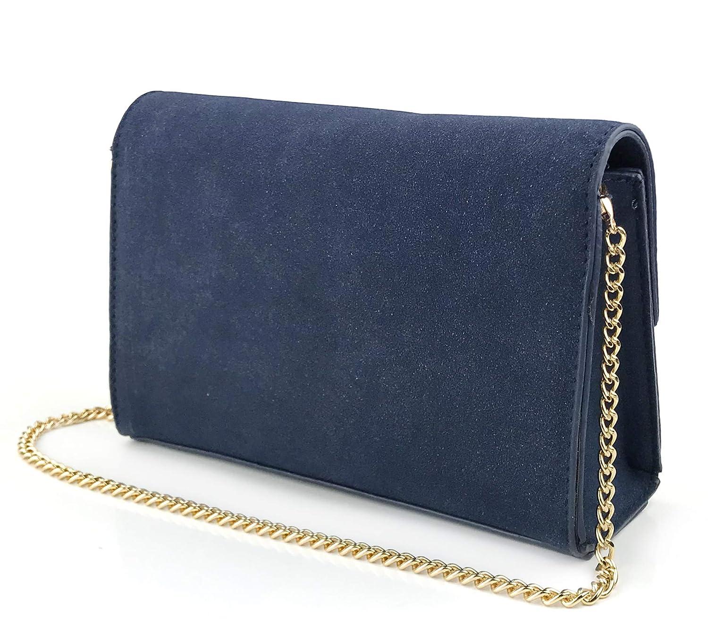 e3d0e74c86f Navy Envelop Evening Clutch Faux Suede Leather Women Chain Cross Body Bag ( Navy): Handbags: Amazon.com