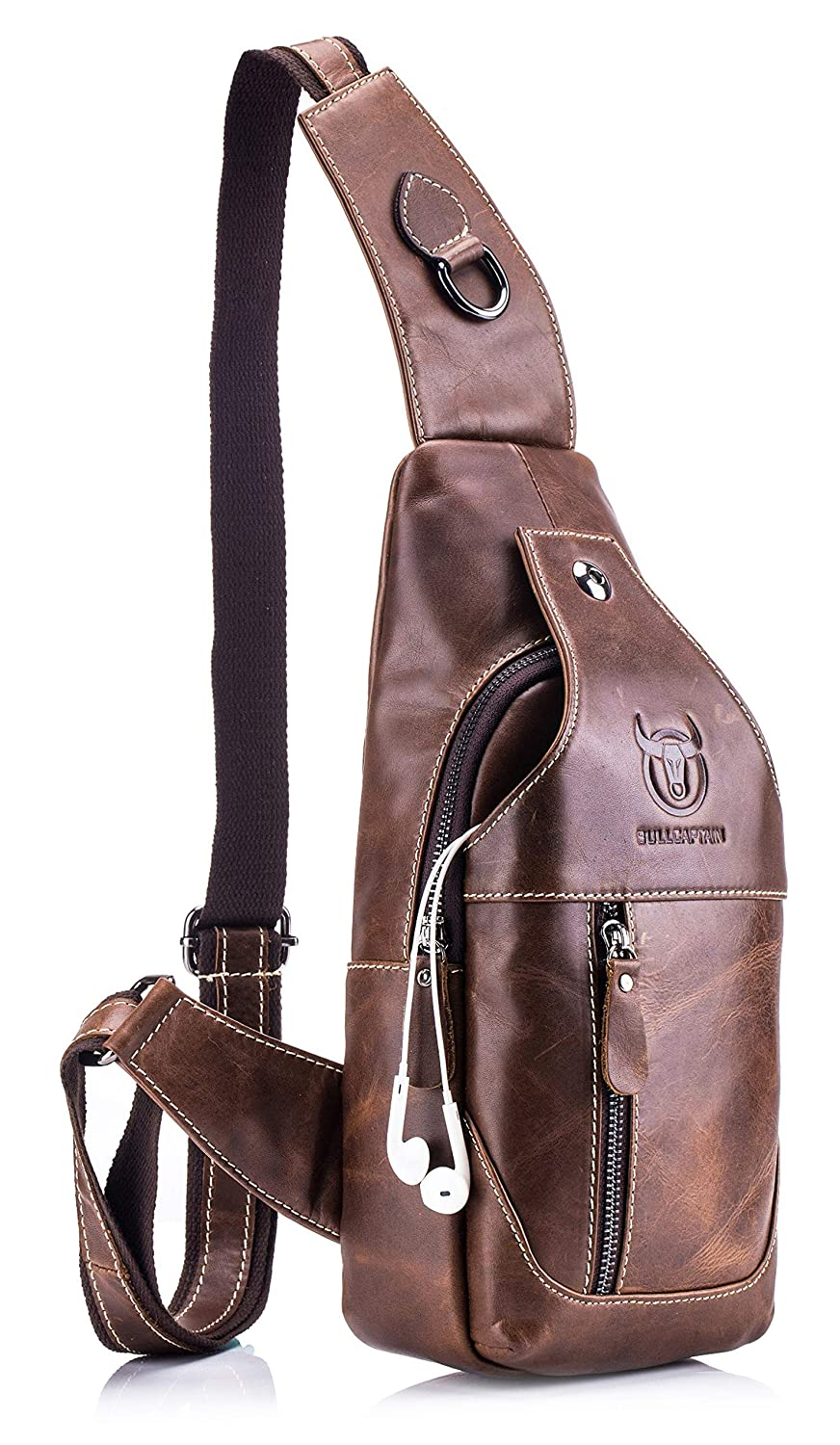 Men's Sling Bag Genuine Lightweight Leather B07R3Y7WSX Chest Hiking Shoulder Backpack Lightweight Casual Crossbody Bags Hiking Outdoor Daypacks (brown) [並行輸入品] B07R3Y7WSX, ブランドストリートリング:d5c18827 --- anime-portal.club