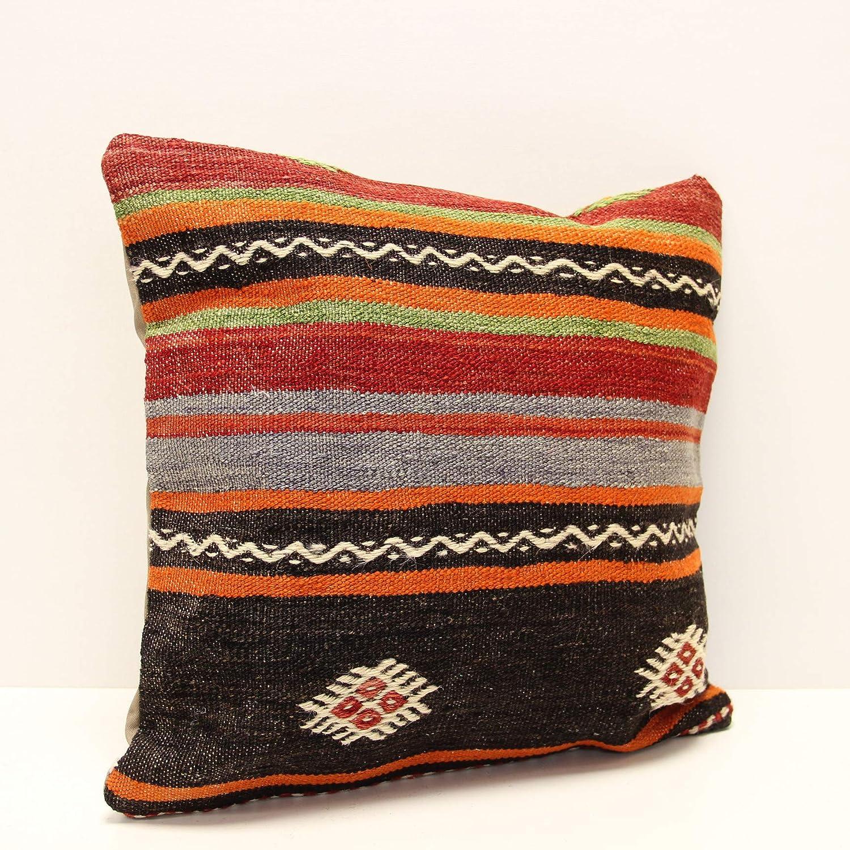 Handwoven Pillow Cushion Cover Vintage Kilim Pillow Kilim Cushion Bohemian Pillow Turk Kilim Pillow 16x16inch 40x40cm