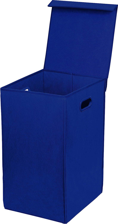 Simple Houseware Foldable Laundry Hamper Basket with Lid, Dark Blue