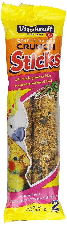 Vitakraft Cockatiel Whole Grains and Kiwi Treat Sticks 2 Pack, 6.31-Ounce 21149