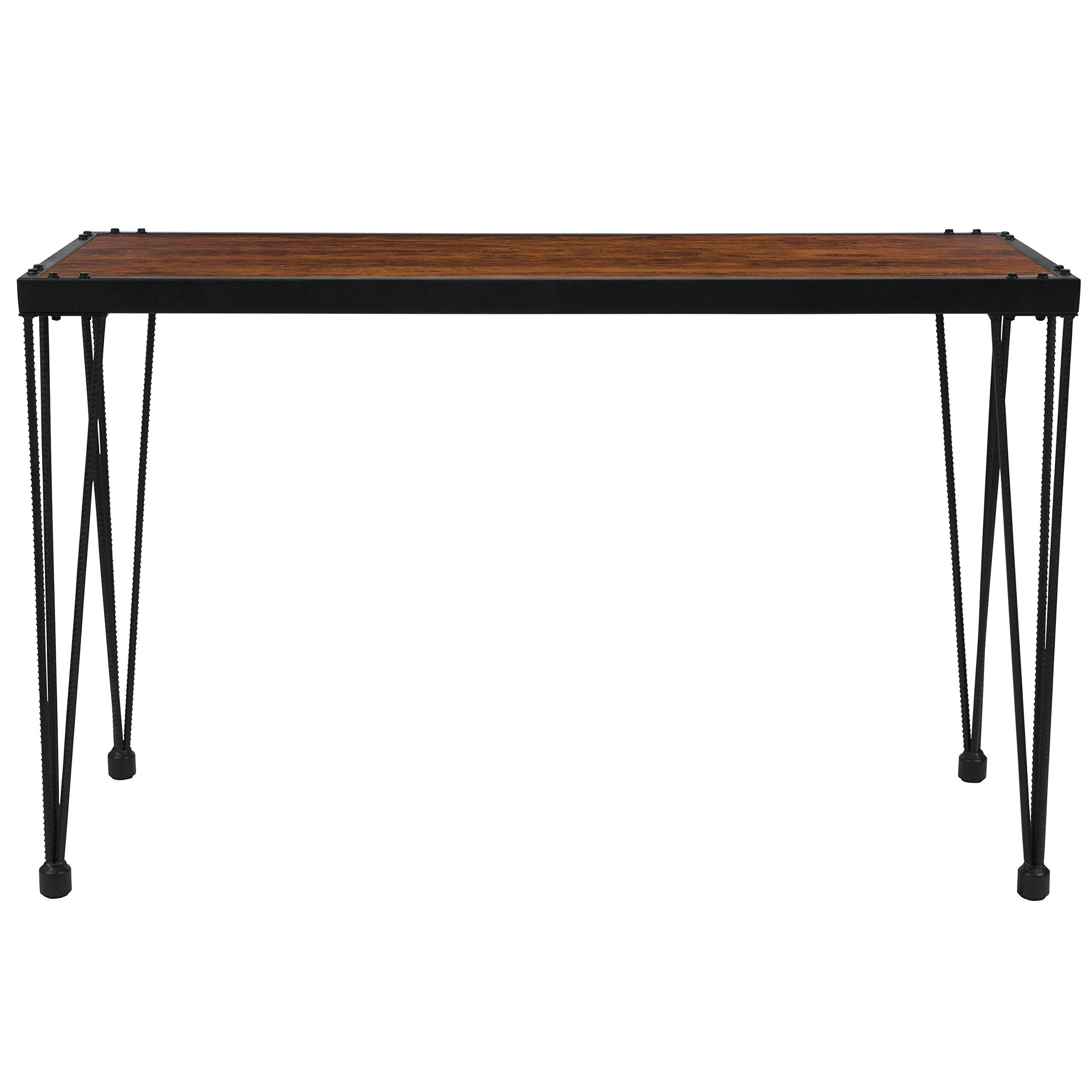 Flash Furniture Baldwin Collection Rustic Walnut Burl Wood Grain Finish Console Table with Black Metal Legs by Flash Furniture (Image #2)