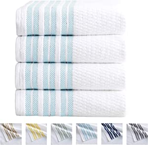 4-Piece Bath Towel Set. 100% Cotton Popcorn Textured Striped Bathroom Towels. Quick Dry and Absorbent Towels. Elham Collection. (4 Pack, Spa Blue)