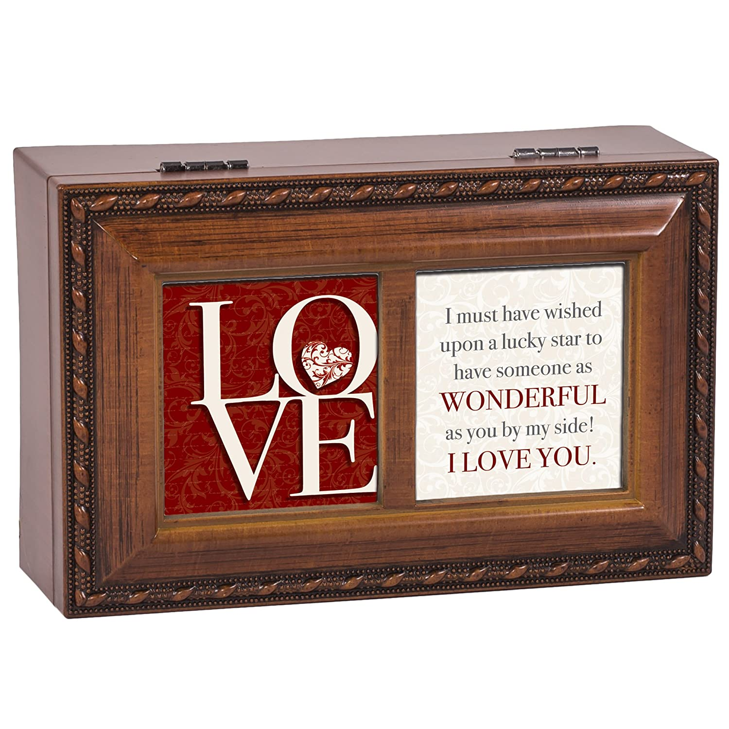 Cottage Garden Love You by My Side Petite Rope Trim Petite Music Box Plays You Light Up My Life
