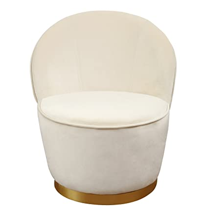 Incredible Tov Furniture Tov S3822 The The Julia Collection Midcentury Modern Velvet Upholstered Barrel Chair With Gold Base Small Ivory Bralicious Painted Fabric Chair Ideas Braliciousco