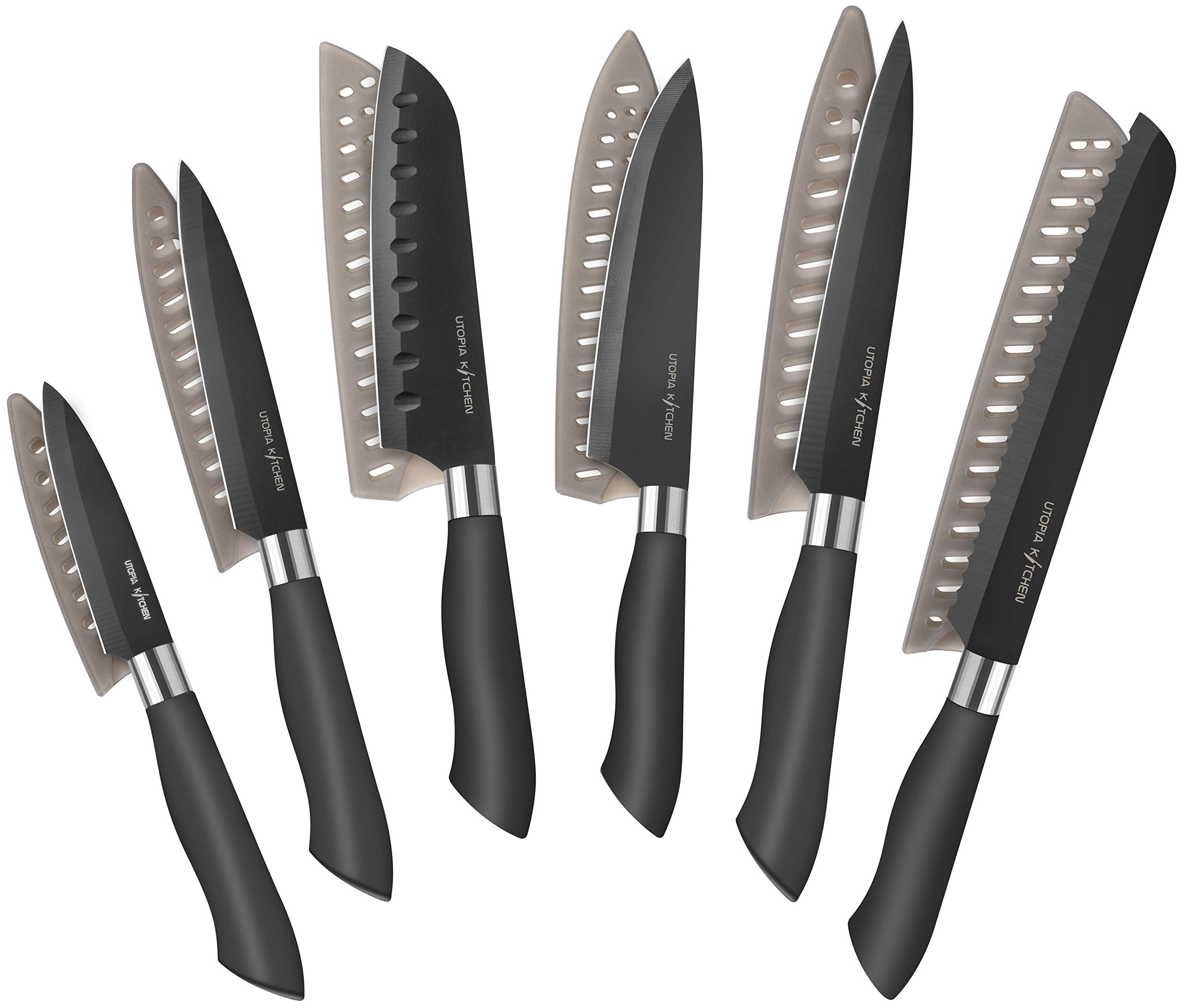 Utopia Kitchen 12-Piece Black Colored Knife Set with Black Colored Blades – Rust Resistant Stainless Steel Material with Non-Stick Coating - PP Rubberized Handle - Multipurpose Knife Set