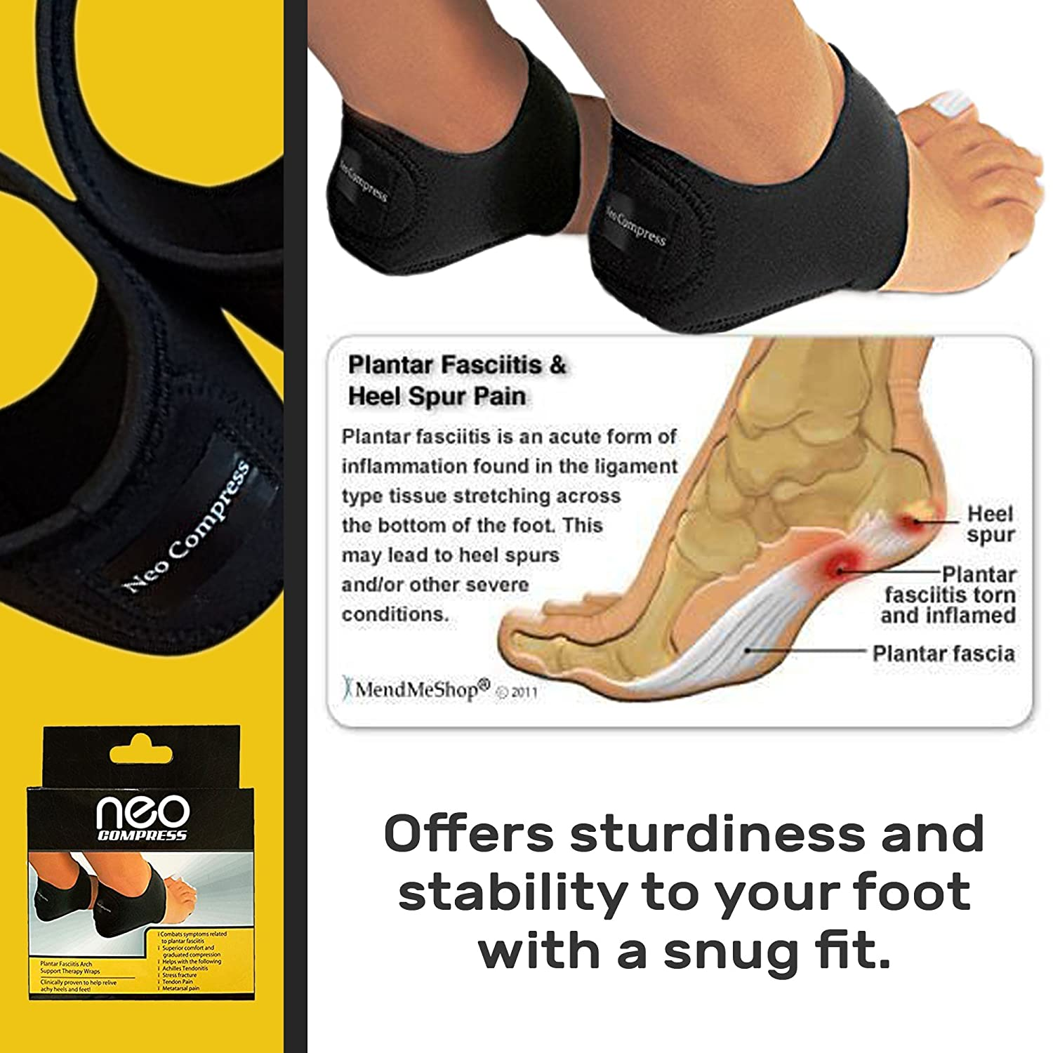 Amazon.com: Plantar Fasciitis Therapy Wrap, Relief from Heel and Foot Pain,  Arch Support, Plantar Fasciitis Sock: Health & Personal Care