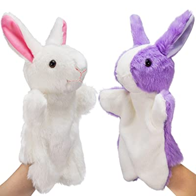 Jovitec 2 Pieces Rabbit Plush Puppet Hand Puppets Birthday Animal Toys Gifts for Kids, Purple and White