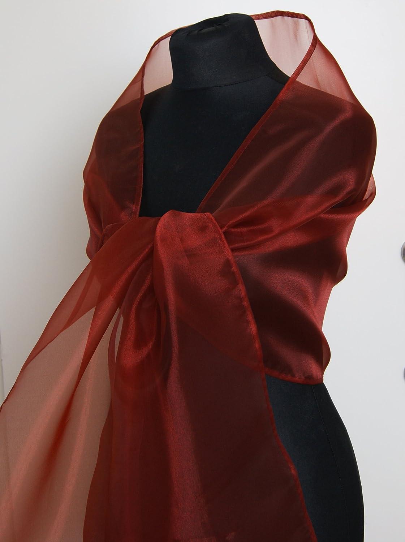 Chal organza color rojo marron novia boda novia para vestido de fiesta: Amazon.es: Handmade