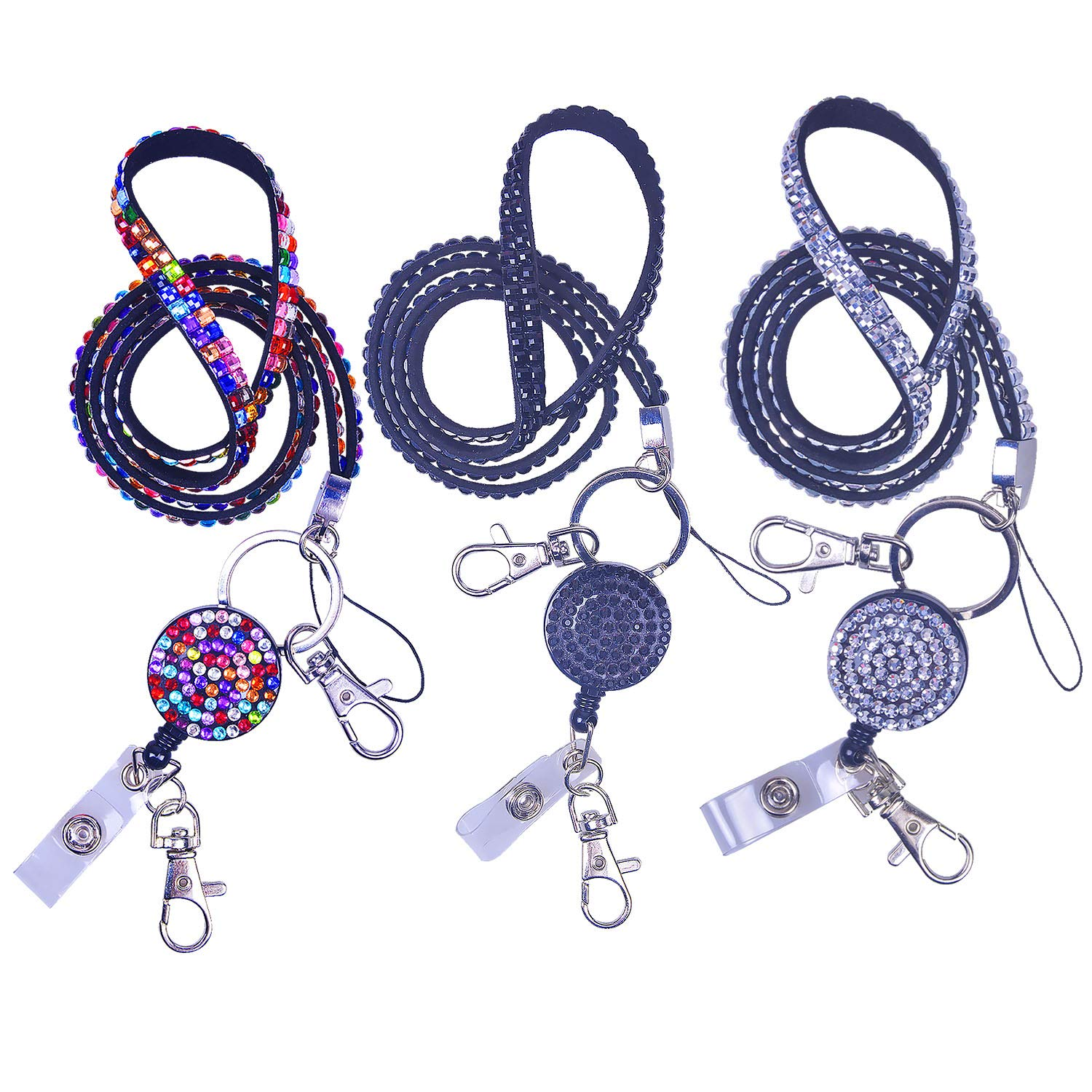 Rancco Phone Neck Strap Lanyard w/Retractable Badge Holder Alligator Clip, Bling Rhinestones Detachable Name Tag Keychain Necklace for iPhone, ID Badge Holder,USB Flash Drive,3 Colors,21 inch