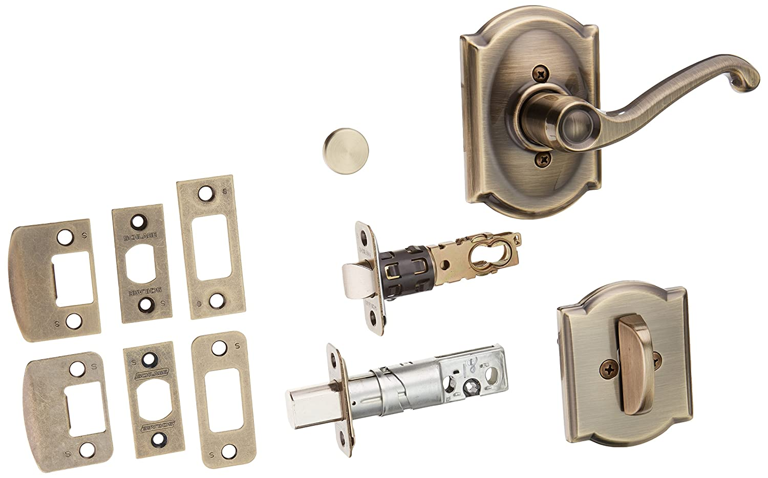 Antique Brass Schlage Lock Company F59FLA609CAMLH Flair Left Handed Interior Pack Lever Set with Single Cyl
