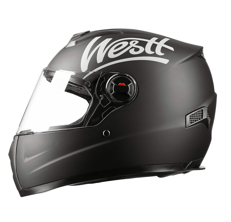 Westt Storm /· Casque Moto Int/égral en Noir Mat pour Scooter Chopper /· Casque de Moto Homme et Femme /· ECE Homologu/é