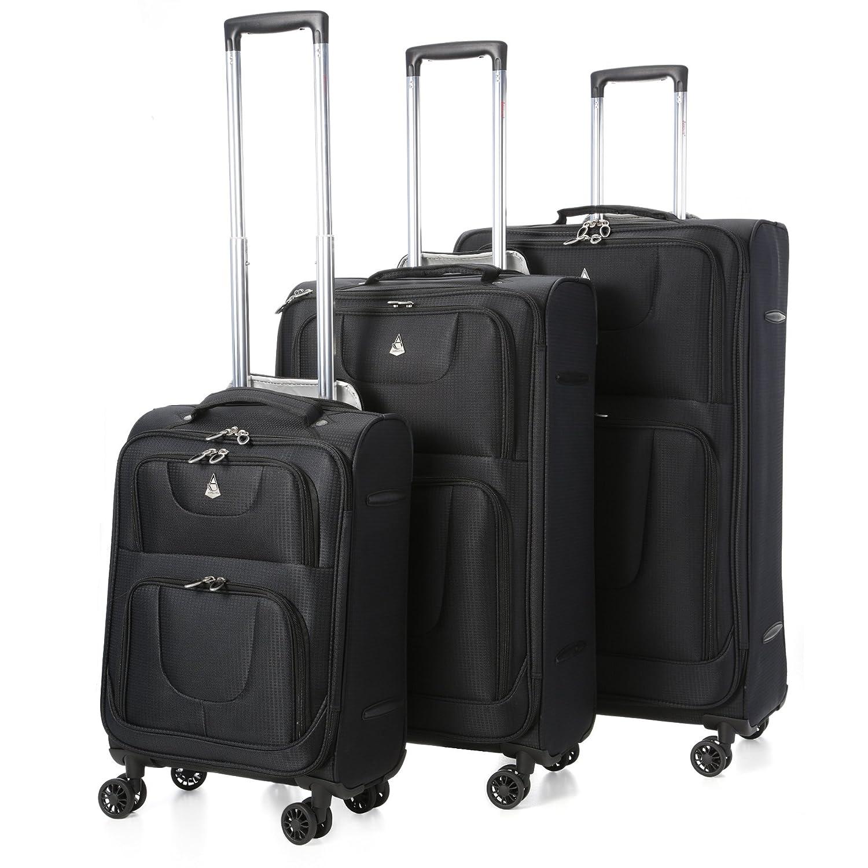 Aerolite Juego de equipaje maleta ligera con ruedas Negro