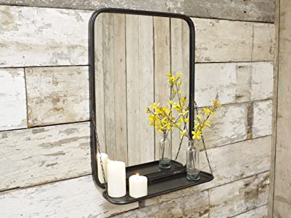 Grand mirroir de salle de bain en métal, style industriel ...