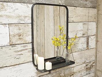 Large Industrial Metal Wall Mounted Bathroom Mirror Storage Shelf Display 70cm