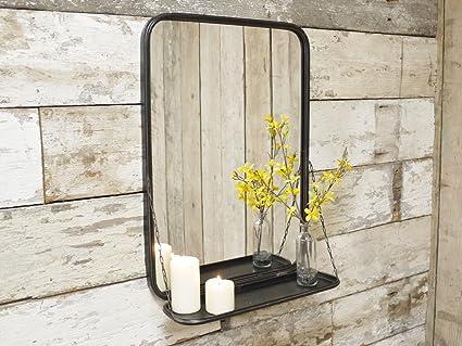 Grande specchio da parete in metallo in stile industriale per il