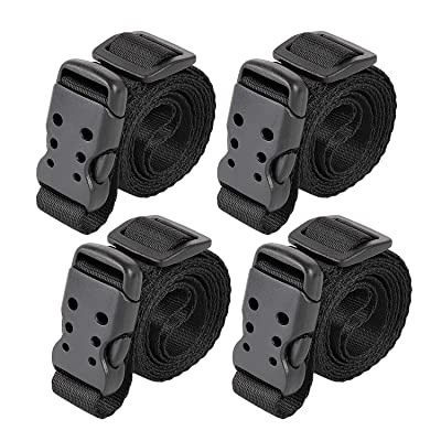 """Ayaport Utility Straps with Buckle 40"""" Quick-Release Adjustable Nylon Straps Black 4 Pack (0.75""""x40"""", Black): Home Improvement"""