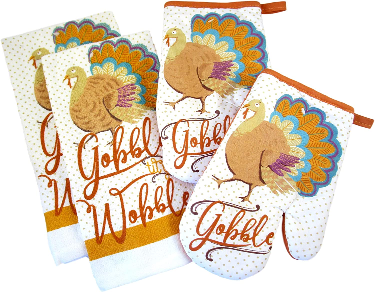 Fall Harvest Thanksgiving Kitchen Towels and Oven Mitts - Bundle of 4 Items: 2 Dish Towels and 2 Oven Mitts (Polka Dot Turkey - Gobble)