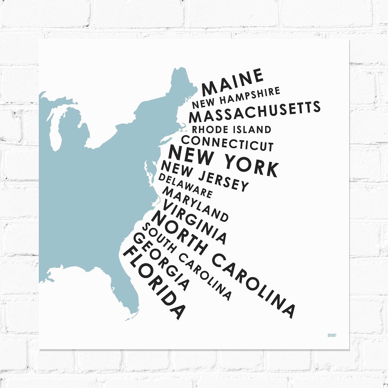 Amazon.com: ORANGE & PARK U.S. Map East Coast States Screen ...