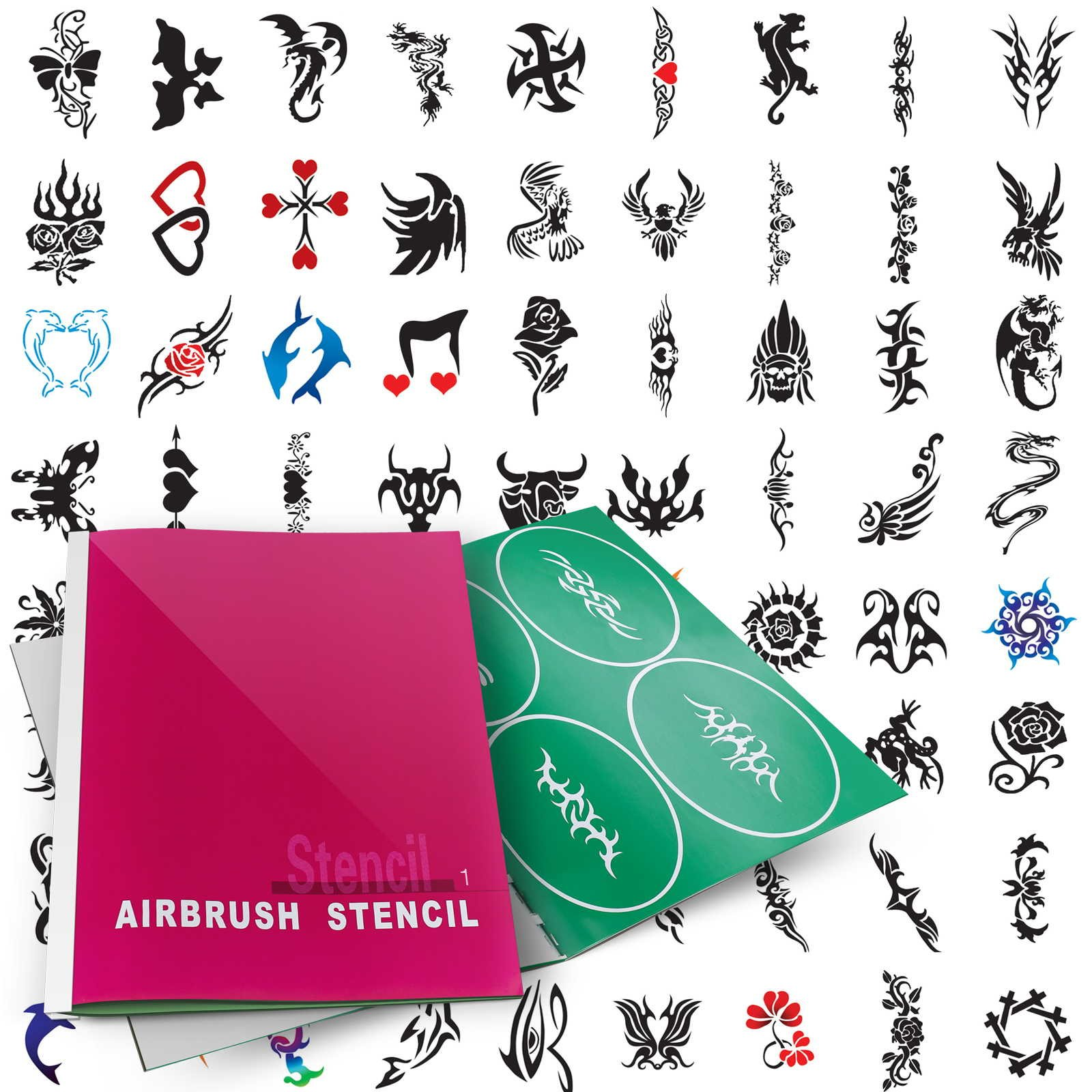 PointZero Temporary Tattoo Airbrush Stencils 100 Designs - Book 1