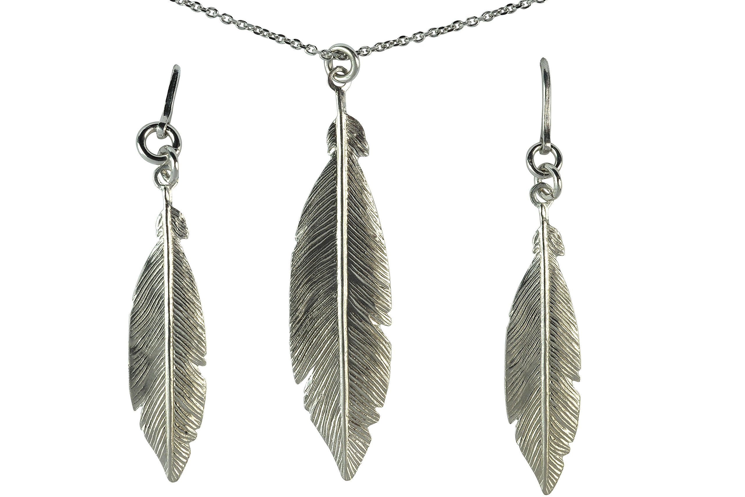 GiftsFromTheHeart 925 Sterling Silver Women's Feather Necklace 18''+2'' and Earrings