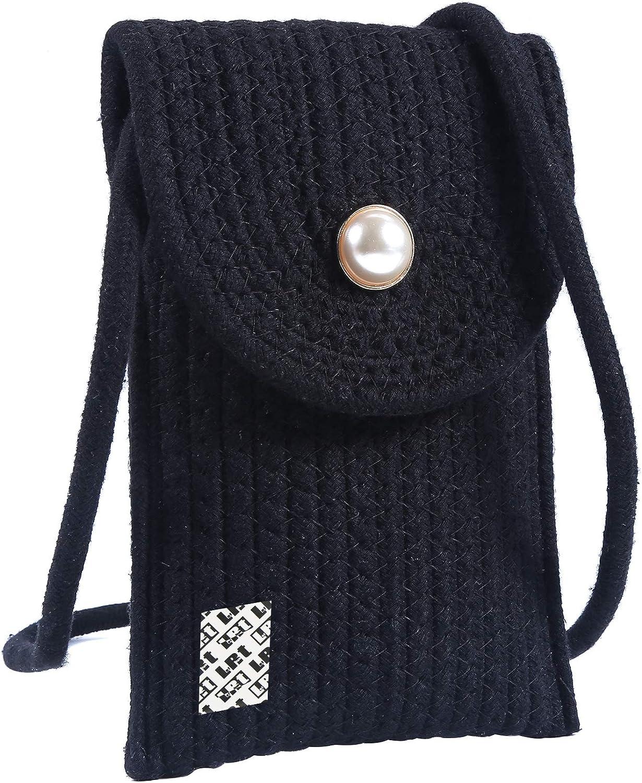 LefRight Coton Style Tiss/é Petit T/él/éphone Sac /Étui pour T/él/éphone Portable Sac Bandouli/ère Sac /à Bandouli/ère pour iPhone 11 Pro Max Samsung Galaxy Note 10 Plus
