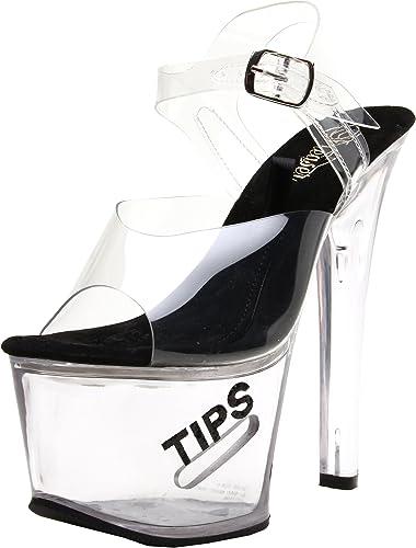Pleaser TIPJAR-708-5 Women/'s Clear Black High Heels Platform Ankle Strap Sandals