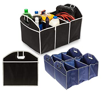 2-in-1 Heavy Duty Collapsible Car Boot Organiser Foldable Tidy Storage Blue