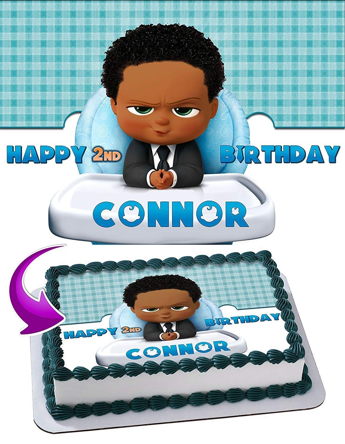 The Boss Baby African American Edible Cake Topper Personalized Birthday 1 2 Size Sheet Decoration Party Birthday Sugar Frosting Transfer Fondant Image