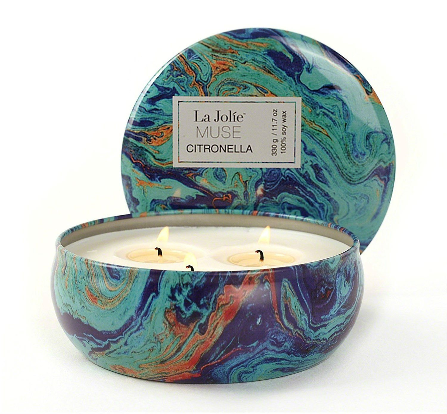 LA JOLIE MUSE Citronella Candle Scented Soy Wax 3 Wick Tin, 75 Hour Burn, Outdoor and Indoor