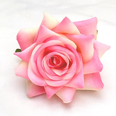 Fabulous Fascinators White Open Rose Artificial Hair Flower Clip Buttonhole Corsage by 8e5P49G