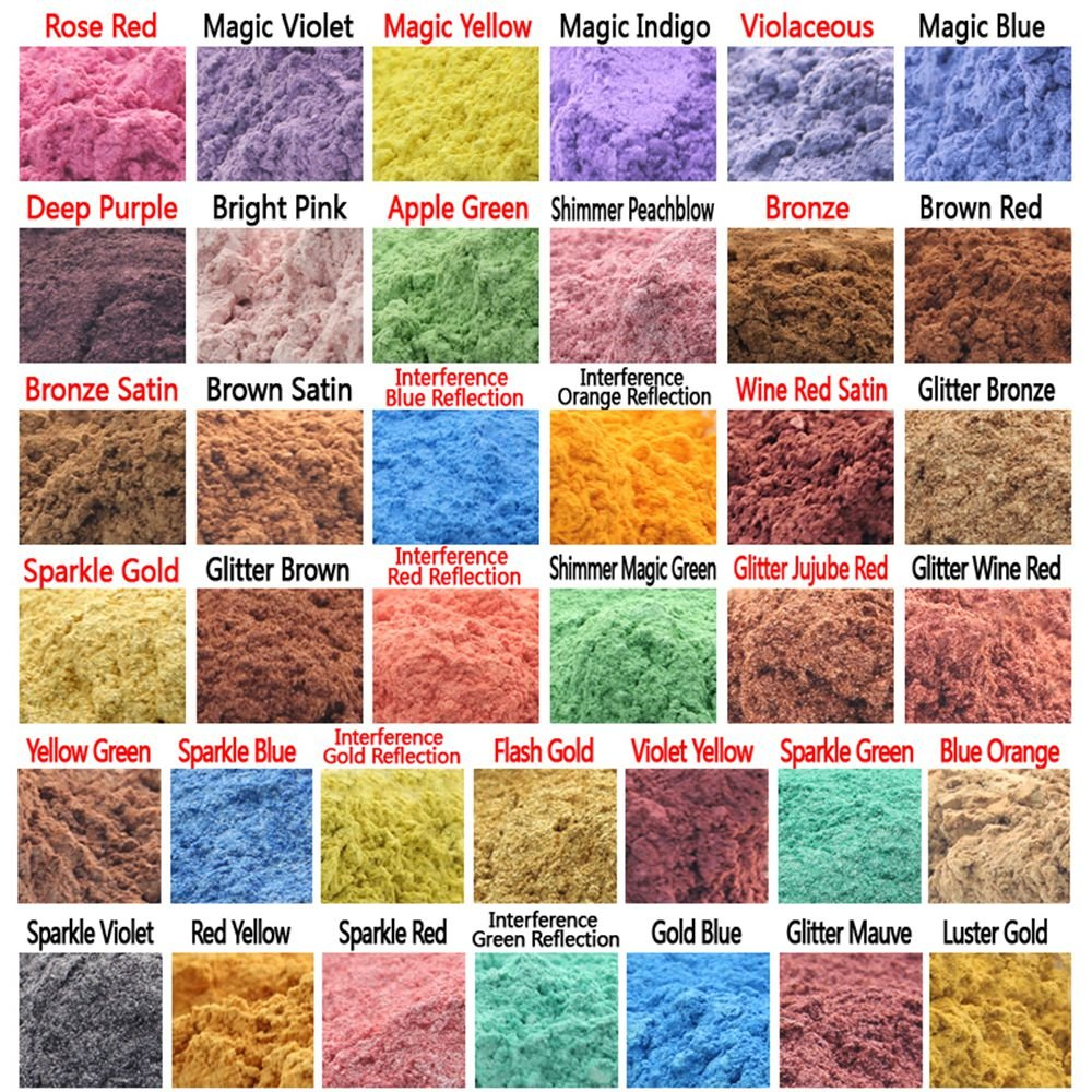 380g Cosmetic Grade Natural Mica Powder Soap Candle Colorant Dye Violet Yellow Blue Purple Red Orange Reflection 38 Colors (10 grams Each, 380 Grams Total)