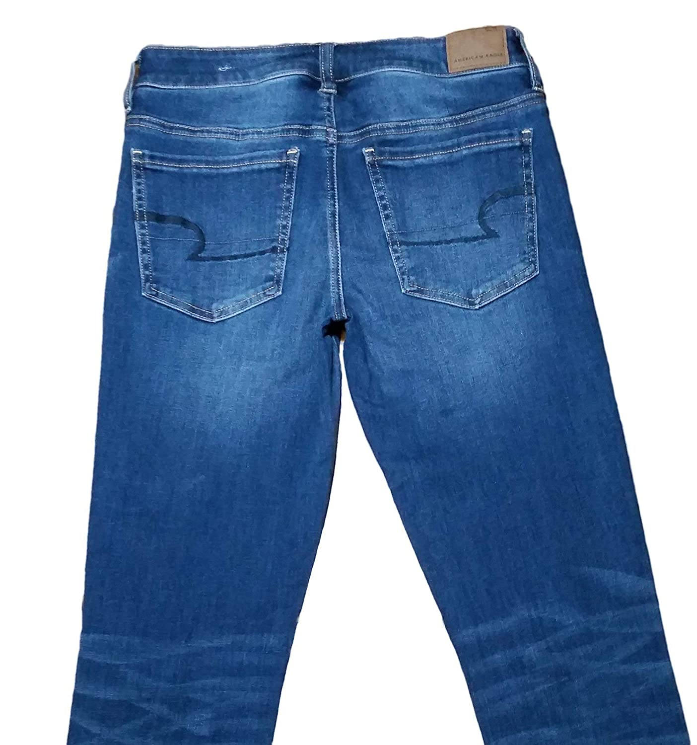 57949a40dc5ee American Eagle Jegging Crop Low Rise Ripped Regular Inseam 26 Inches (20)  Blue at Amazon Women's Jeans store