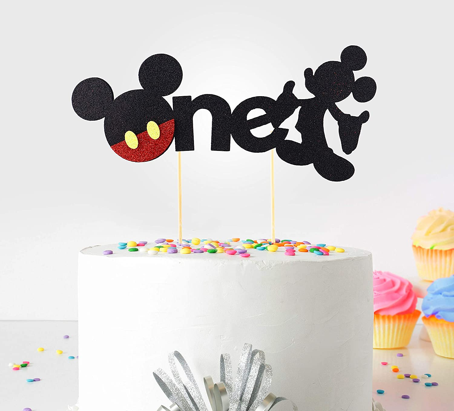 First Birthday Cake Topper Party Cake Decoration Supplies MALLMALL6 Onederful Mickey Mouse Inspired Cake Topper