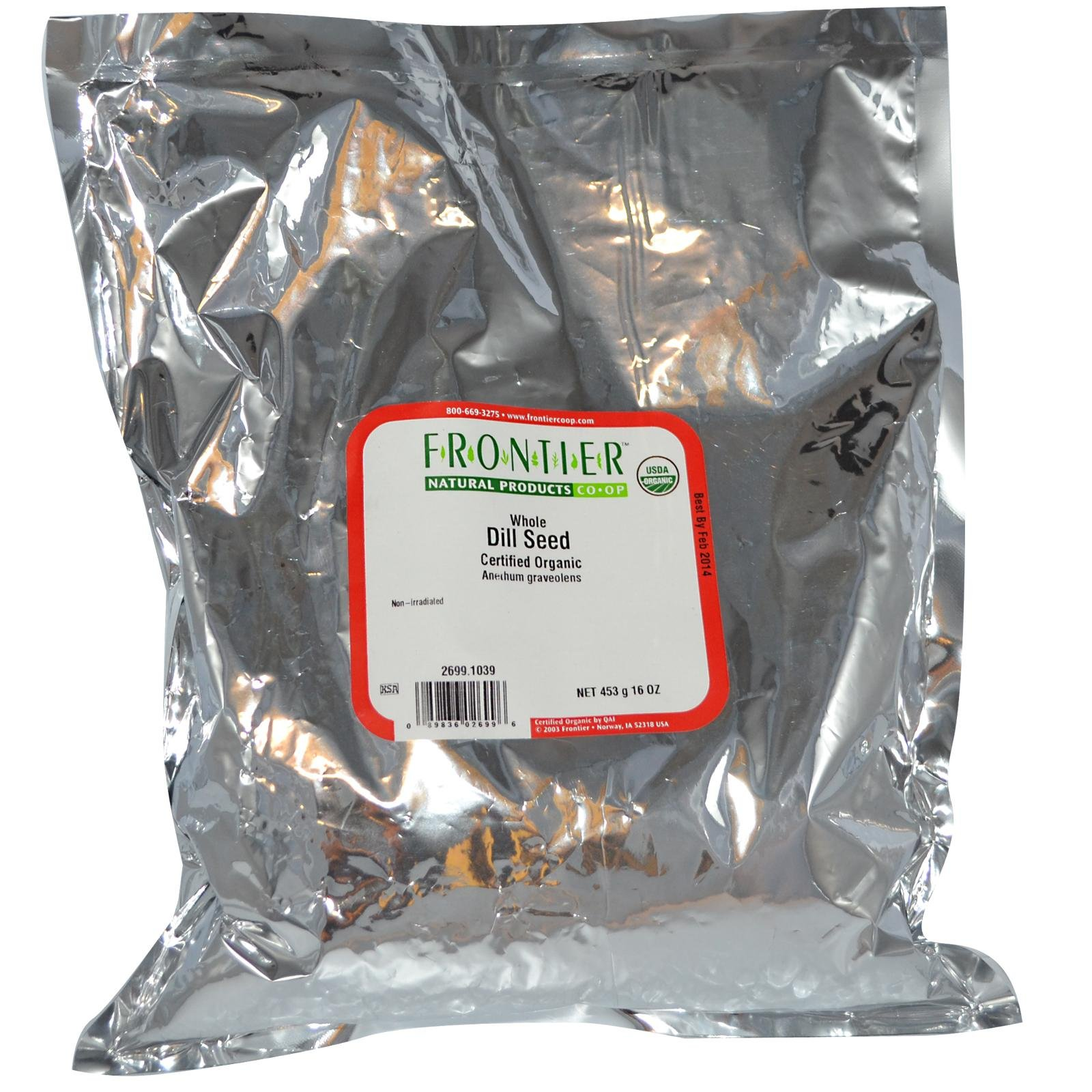 Frontier Natural Products Organic Dill Seed Whole -- 1 lb