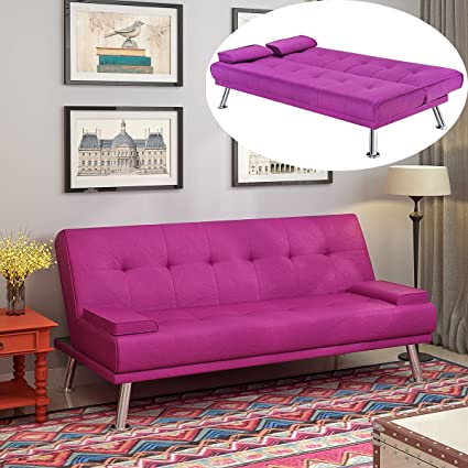 Weibo 3seater Sofa Bed Linen Fabric Click Clack Sofa With Chrome